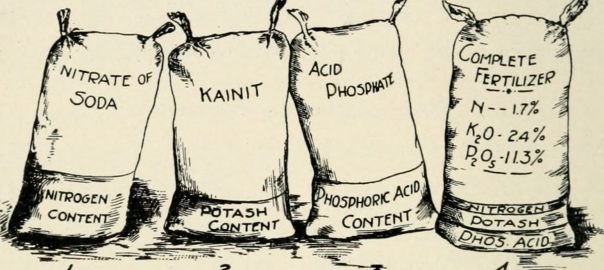 Bags of dry chemicals and fertilizer