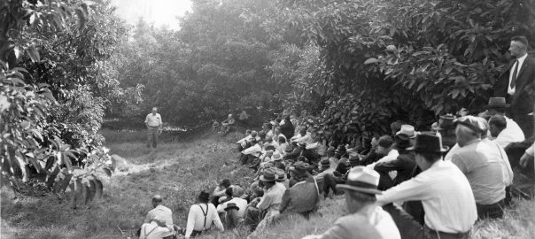 People sitting on a hill while listneing to someone talk